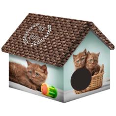 Домик для собак и кошек PerseiLine Шоколадные котята 33х33х40 см коричневый