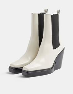 Серовато-белые ботинки челси накаблуке с квадратным носком в стиле вестерн Topshop Hero-Белый