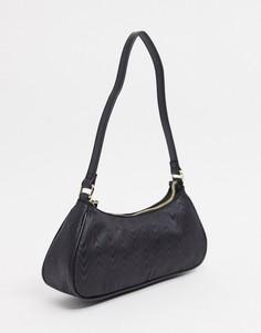 Черная продолговатая сумка на плечо встиле 90-х из ткани муар ASOS DESIGN-Черный