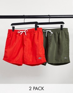 Набор из двух шорт для плавания зеленого и красного цветов River Island-Зеленый цвет