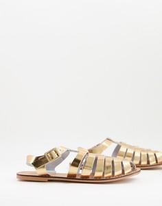 Кожаные плетеные туфли золотистого цвета с эффектом металлик на плоской подошве ASOS DESIGN Marina-Золотистый