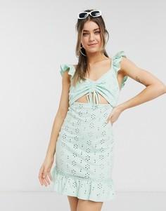 Летнее платье мини мятного цвета набретелях с оборками, вышивкой ришелье идекоративным вырезом ASOS DESIGN-Зеленый цвет