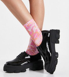 Черные туфли для широкой стопы на массивной плоской подошве ASOS DESIGN Wide Fit Mall-Черный