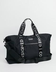 Спортивная сумка с лентой с логотипом Consigned-Черный цвет