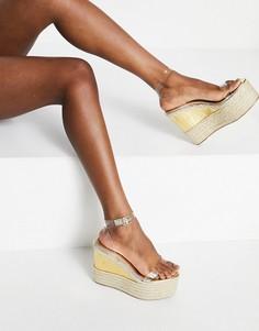 Светлые туфли на высокой танкетке ASOS DESIGN Tasha-Прозрачный