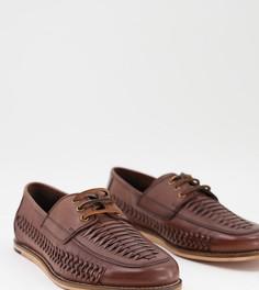 Коричневые плетеные кожаные туфли для широкой стопы со шнуровкой Silver Street-Коричневый