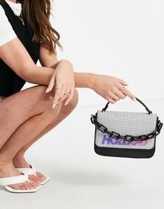 Черная сумочка-портфель с клапаном в мелкую клетку спереди House of Holland-Черный цвет