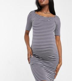 Платье в серую полоску с рукавами 3/4 для кормящих мам New Look Maternity-Серый