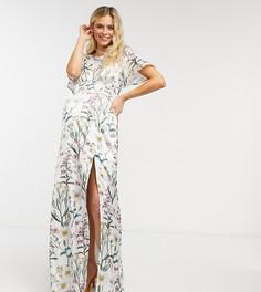 Атласное платье макси с хомутом на спине и растительным принтом Hope & Ivy Maternity-Многоцветный