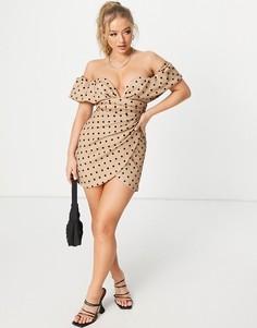 Бежевое сетчатое платье мини в горошек с открытыми плечами и глубоким вырезом ASOS DESIGN-Многоцветный