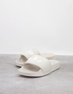 Белые шлепанцы adidas Originals adilette lite-Черный