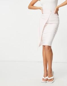 Бледно-розовая юбка с запахом Vesper-Белый