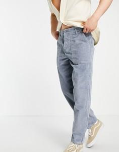 Серые брюки широкого кроя из вельвета с крупной фактурой ASOS DESIGN-Серый