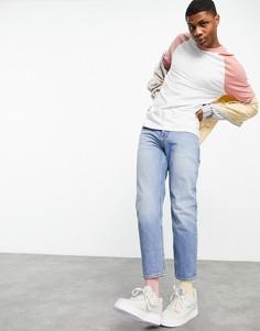 Синие выбеленные джинсы классического кроя из плотного экологичного хлопка, изготовленные с уменьшенным расходом воды, ASOS DESIGN-Голубой