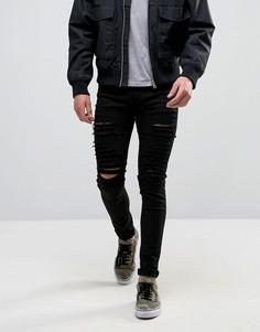 Черные зауженные джинсы с рваной отделкой Criminal Damage-Черный