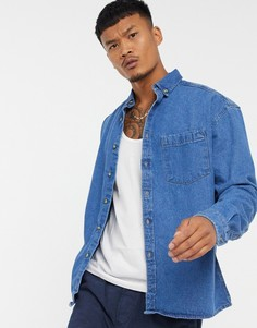 Синяя джинсовая куртка-рубашка из органического хлопка ASOS DESIGN-Синий