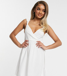 Белое пляжное платье мини на бретелях с узелками ASOS DESIGN Recycled Petite-Белый