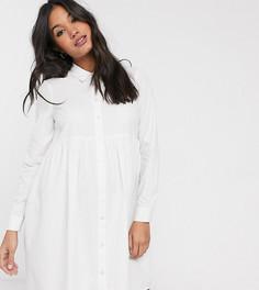 Белое платье-рубашка мини из органического хлопка с присборенной юбкой ASOS DESIGN Maternity-Белый