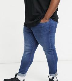 Супероблегающие джинсы сине-голубого выбеленного цвета из органического хлопка Topman Big & Tall-Голубой