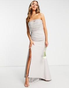 Серое платье макси с запахом и разрезом по бедру Jarlo-Серый