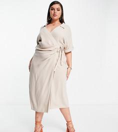 Светло-бежевое льняное платье миди с запахом ASOS DESIGN Curve-Нейтральный