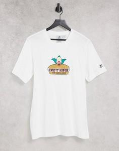 """Белая футболка с принтом """"Krusty Burger"""" adidas Originals x Simpsons-Белый"""