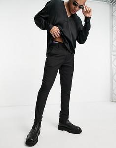 Черные строгие зауженные брюки с разрезом спереди ASOS DESIGN-Черный цвет