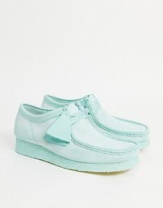 Замшевые туфли мятного цвета Clarks Originals Walabee-Зеленый цвет