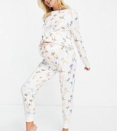 Пижамный комплект из экологичного полиэстера с принтом девушек в позах йоги из длинного топа и джоггеров Chelsea Peers Maternity-Розовый цвет