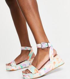 Сандалии на плоской платформе для широкой стопы с принтом тай-дай ASOS DESIGN Tatiana-Многоцветный