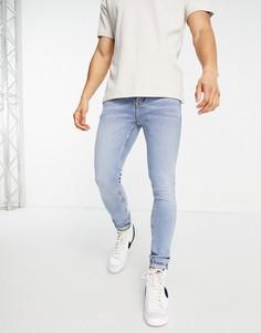Светлые выбеленные джинсы из органического хлопка с напылением Topman-Голубой
