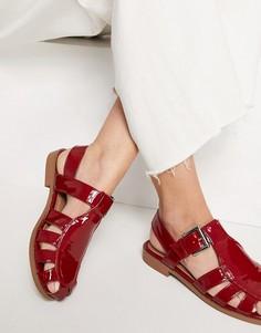 Красные плетеные туфли на плоской подошве ASOS DESIGN Monika-Красный