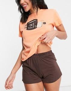 """Коричневая пижама с шортами и принтом """"Hot Stuff"""" на топе Brave Soul-Оранжевый цвет"""