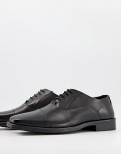 Оксфордские кожаные туфли черного цвета на шнуровке Silver Street-Черный