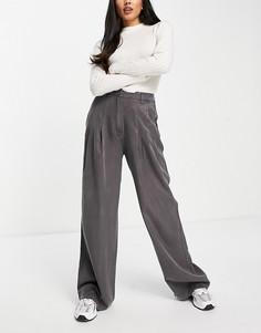Серые мягкие брюки с широкими штанинами ASOS DESIGN-Черный