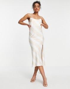 Платье макси в бежевую полоску на бретелях ASOS DESIGN-Многоцветный
