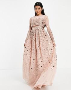 Нежно-розовое платье макси с кроп-топом и пайетками ASOS DESIGN Anarkali-Розовый цвет