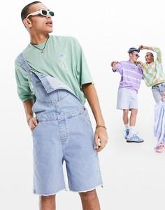 Голубые джинсовые шорты-комбинезон с широкими штанинами и необработанным краем ASOS DESIGN-Голубой