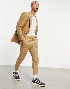 Зауженные брюки с добавлением льна табачного цвета ASOS DESIGN-Коричневый цвет