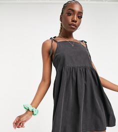Платье-сарафан из мягкого денима черного выбеленного цвета с присборенной юбкой ASOS DESIGN Tall-Черный