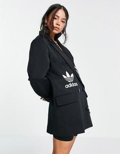 Черный блейзер в стиле oversized со вставками с логотипом-трилистником adidas Originals x Dry Clean Only