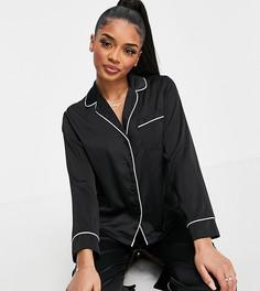 Черная атласная пижама с рубашкой с длинными рукавами и штанами ASOS DESIGN Petite-Черный
