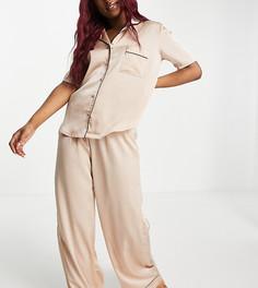Серовато-бежевая атласная пижама с рубашкой с короткими рукавами Missguided-Белый