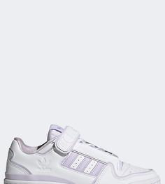 Белые кроссовки с фиолетовыми вставками adidas Originals Forum Plus-Светло-бежевый