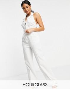 Белые льняные брюки прямого кроя ASOS DESIGN Hourglass-Белый