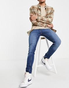 Синие выбеленные зауженные джинсы French Connection-Голубой