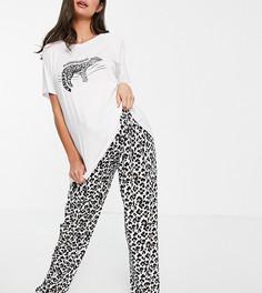 Черно-белая пижама с брюками с леопардовым принтом Loungeable Maternity Rather Be Sleeping-Многоцветный