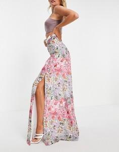 Юбка макси с контрастной кружевной вставкой, разрезом до бедра и цветочным принтом (от комплекта) Hope & Ivy-Многоцветный
