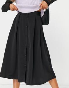 Черная юбка миди на пуговицах из переработанных материалов Monki-Черный