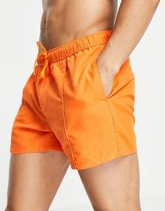 Ярко-оранжевые короткие шорты для плавания с защипами ASOS DESIGN-Оранжевый цвет